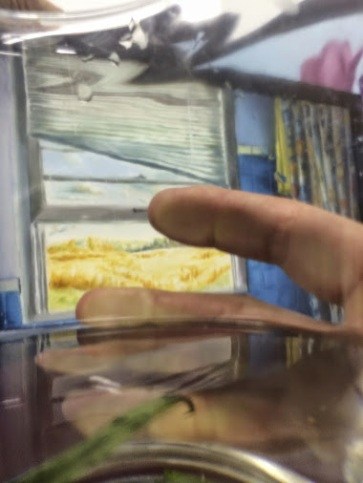 A painting through a wine glass.