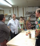 Scott and some ceramic enthusiasts in the clay studio.